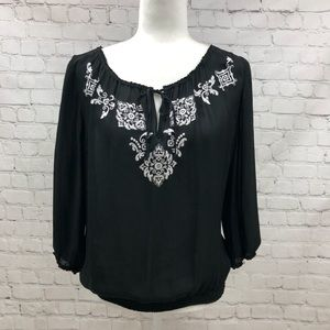 WHBM Black Silk Blouse with White Embroidery Sz L